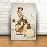Placa Decorativa - Pin-up Cowgirl