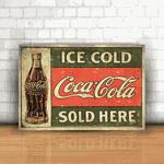 Placa Decorativa - Coca Cola Local de Venda Retrô