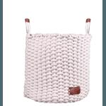 Cesto De Corda Algodão Branco Com Alça De Couro 28cm