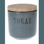 Pote de Cerâmica Sugar Com Tampa de Bambu Cinza