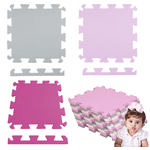 Kit 12 Placas Tatame Eva 50x50x1cm Menina Infantil Rosa e Cinza