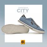 Sapatenis City Masculino Lona - Jeans/Café