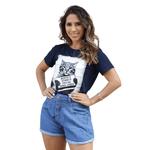 T-Shirt Gato Surtado - Azul Marinho