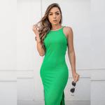 Vestido Longo Costas Nua em Malha Canelada Premium - Verde Bandeira