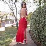 Vestido Longo Costas Nua - Vermelho Escuro