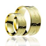 Aliança de ouro com escrita externa