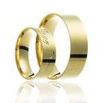 Aliança de ouro escrito love e chave de coração