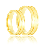 Aliança de ouro liso com sulcos