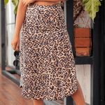 Saia Lorena Animal Print com Fenda Lateral