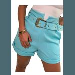 Shorts Mari de Alfaiataria Cintura Alta C/ Bolso Faca e Cinto De Fivela Azul Tiffany