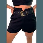 Shorts Mari de Alfaiataria Cintura Alta C/ Bolso Faca e Cinto De Fivela Preto