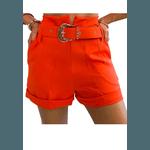Shorts Mari de Alfaiataria Cintura Alta C/ Bolso Faca e Cinto De Fivela Laranja