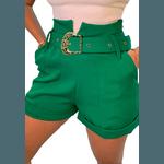 Shorts Mari de Alfaiataria Cintura Alta C/ Bolso Faca e Cinto De Fivela Verde