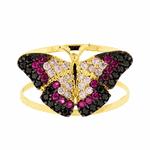 Anel Borboleta Rosa com Zircônias Ouro 18k