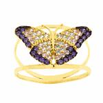 Anel Borboleta Lilás com Zircônias Ouro 18k