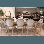 Conjunto Mesa de Jantar Lavanda (2,75m) + 6 Cadeiras Medalhão + 2 Poltronas Leroy Victorine