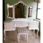 Penteadeira Provençal Madeira Maciça 3 Espelhos Com Banqueta