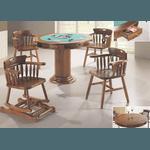 Mesa De Jogos Em Madeira Maciça - Imbuia