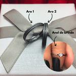 Alianças Mozue - 3 mm - Namoro - Prata 950 - Ródio Negro - Anatômicas - Diamantadas - Anel de brinde