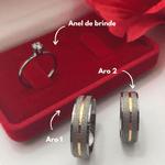 Alianças Black Gold - 6 mm - Namoro - Prata 950 - Ródio Negro - Diamantadas - Anatômicas - Anel de brinde