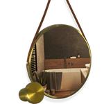 Espelho ADNET 60cm Dourado com Alça Caramelo Reduna AF0030