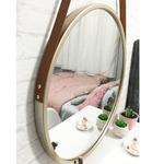 Espelho Redondo Adnet Dourado com Alça Caramelo 60cm Reduna AF0005