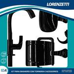 Kit Torneira com Acessórios Fitt 2004 F61 Preto Lorenzetti 7140095