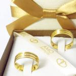 Par de Alianças de Casamento Lyon em Ouro 18k Com Diamante