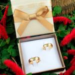 Par de Alianças de Casamento Birmingham em Ouro 18k Com Diamante