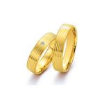 Par de Alianças de Casamento Sevilha em Ouro 18k Com Diamante