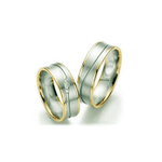 Par de Alianças de Bodas Bremen em Ouro 18k Bicolor Com Diamantes