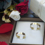 Par de Alianças de Bodas Alianças de Casamento Recife em Ouro Bicolor 18k Com Diamante