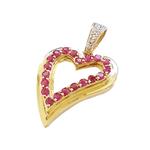Pingente Feminino Coração em Ouro 18k Com Rubis E Diamantes