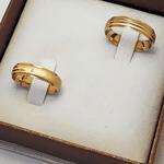 Par de Alianças de Casamento Praga em Ouro 18k Com Diamante