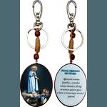 Chaveiro Madeira Oval de Nossa Senhora de Fátima