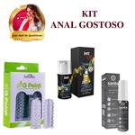Capa de Dedo Estimuladora + Dessensibilizante Sensible Prata + Vibrador líquido Vibration Vodka com Energético / KIT ANAL GOSTOSO