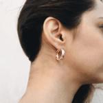 Brinco Argola Dupla Semijoia Banho de Ouro 18K Cravação de Zircônias Detalhe em Ródio