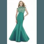 Vestido Zibeline Gola Verde