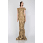 Vestido Rendado Nude Com Dourado