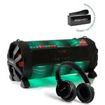 Caixa de Som Amplificada Bluetooth Bazuka XB860 Polyvox 480wRadio FM LED + Fone de Ouvido Bluetooth Polyvox