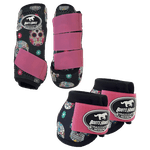 Kit Simples Color Boots Horse Cloche e Boleteira - Estampa 28 / Velcro rosa (1298)
