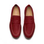 Sapato Masculino Loafer Vermelho Calhetas