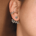 Brinco Ear Jacket Em Prata 925 Oxidada - Bouquet   Coleção Flora