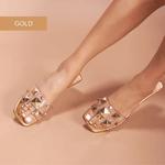 SandÁlia Flat Em Cristal Ouro Light Com PirÂmides