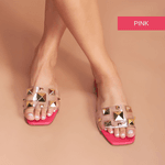 SandÁlia Flat Em Couro Pink Com PirÂmides