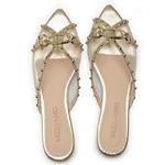 Sapato Mule Em Couro Cristal Ouro Light