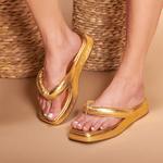 SandÁlia Flatform Em Couro Cristal Ouro Light