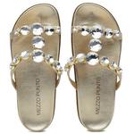 Sandália Papete em couro Cristal ouro light com pedraria