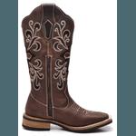 Bota Country Feminina Cano Bordado Top Franca Shoes Marrom
