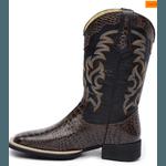 Bota Country Texana Masculina Bico Quadrado Couro Jacaré Dubai E Mustang Preto